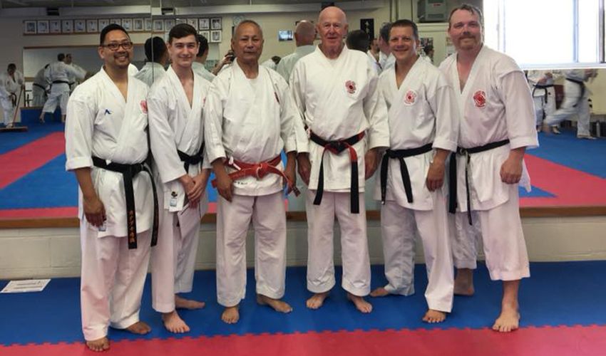 ICKF Black Belts with Hanshi Higashi, Renshi Bellhouse and Shihan Docherty