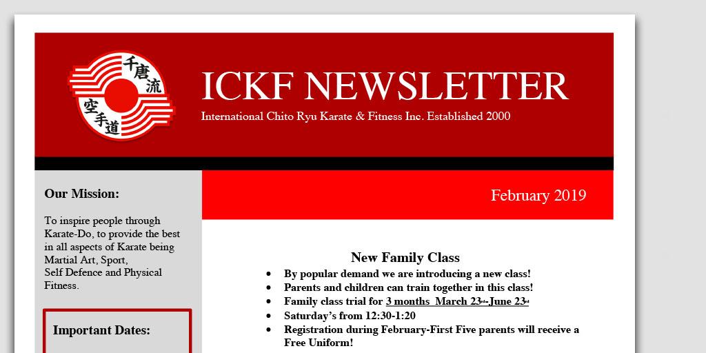ICKF February 2019 Newsletter